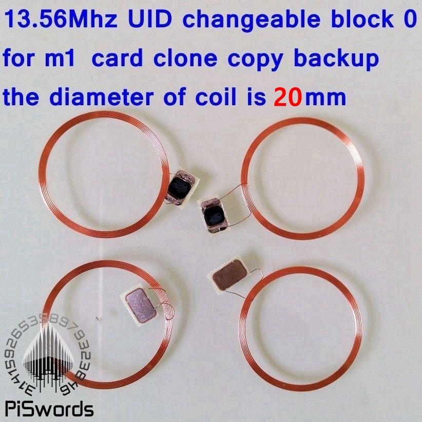 Mini tamaño NFC bobina UID cambiable RFID block0 tarjeta con chip escribible para m1 1k s50 13,56 Mhz nfc tarjeta clon craqueta hack