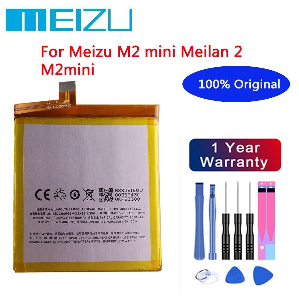 Meizu High Quality 100% Original Battery 2500mAh BT43C For Meizu M2 mini Meilan 2 M2mini Mobile Phone Batteries+Free tools недорого