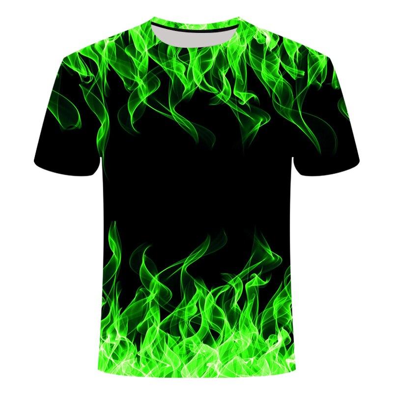Camiseta 3d Camiseta negra Camiseta Casual Camiseta Streatwear manga corta tela azul rojo Flaming 2019 moda verano Camiseta para hombre t camisa