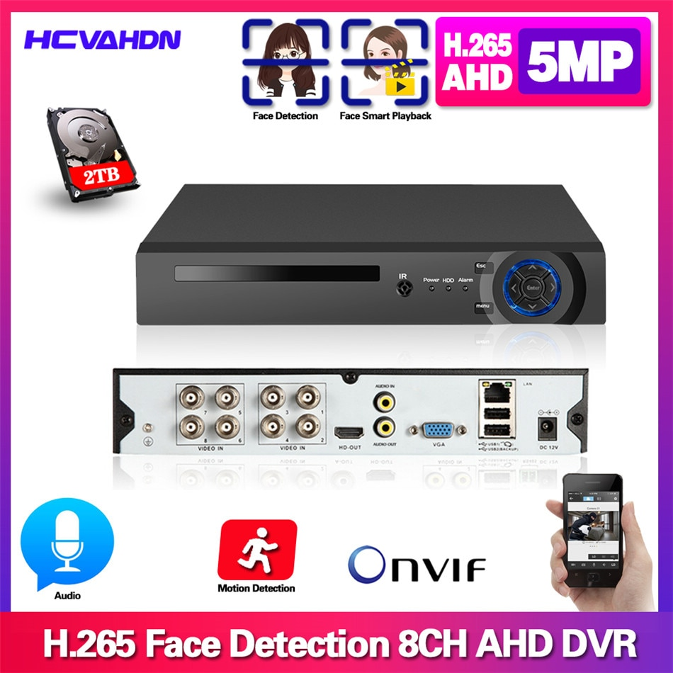AHD Video Audio Face Detection CCTV 8CH Recorder H.265  5MP 4MP 1080P 6 in 1 Hybrid DVR XVi TVi CVI IP NVR For CCTV AHD& Camera 8 channel ahd video recorder h 265 5mp 4mp 1080p 5 in 1 hybrid dvr 8ch wifi xvi tvi cvi ip nvr for home cctv camera surveillanc