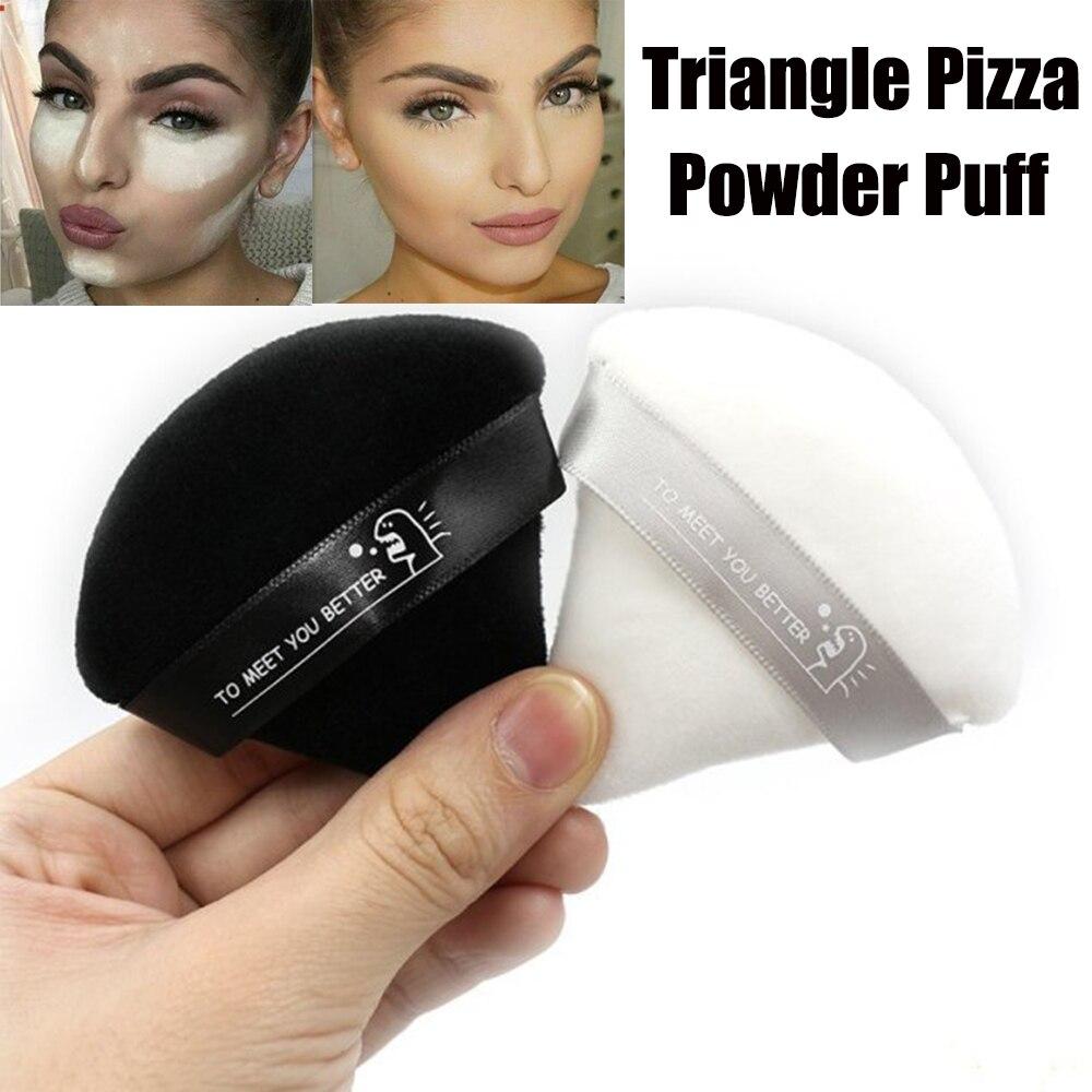 1 ud. Miniesponja negra/blanca triangular de terciopelo en polvo Puff Pizza harina Maquillaje facial cosméticos esponja herramientas de maquillaje lavable ligero