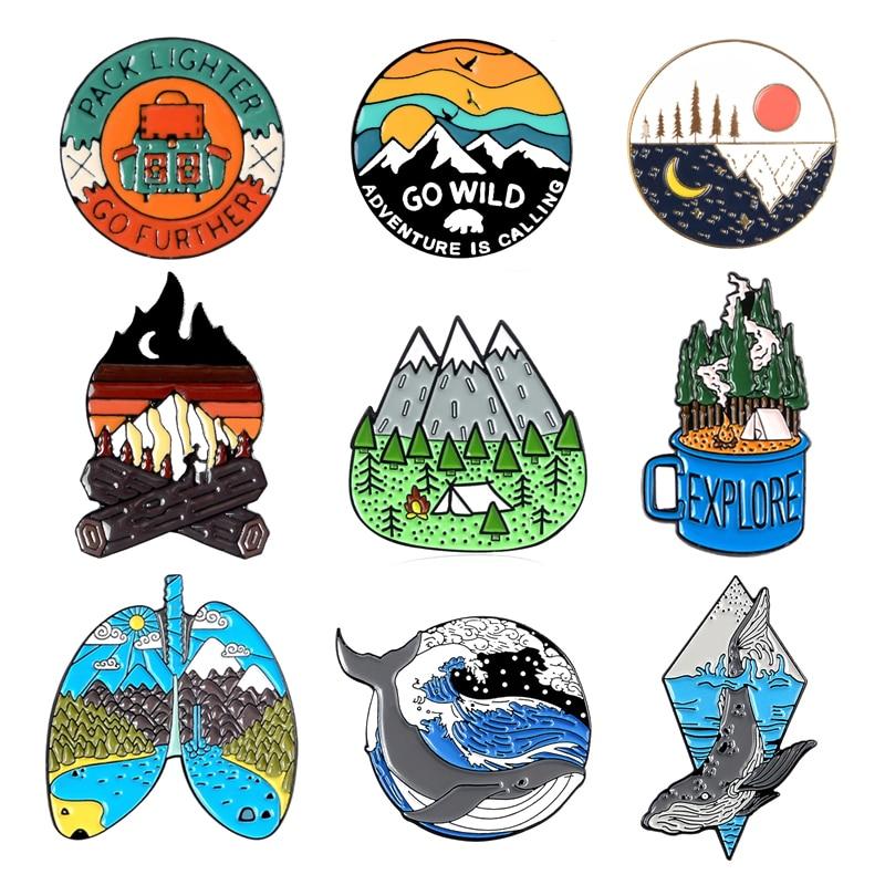 cartoon round sun sunrise mountain peak bird fire pin nature woods sea wave whale enamel brooch badge punk jewelry gift for kid
