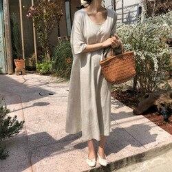 Женское летнее негабаритное винтажное хлопковое длинное льняное платье женское свободное прямое Vestidos с карманом Robe Femme Ete повседневное Jurken