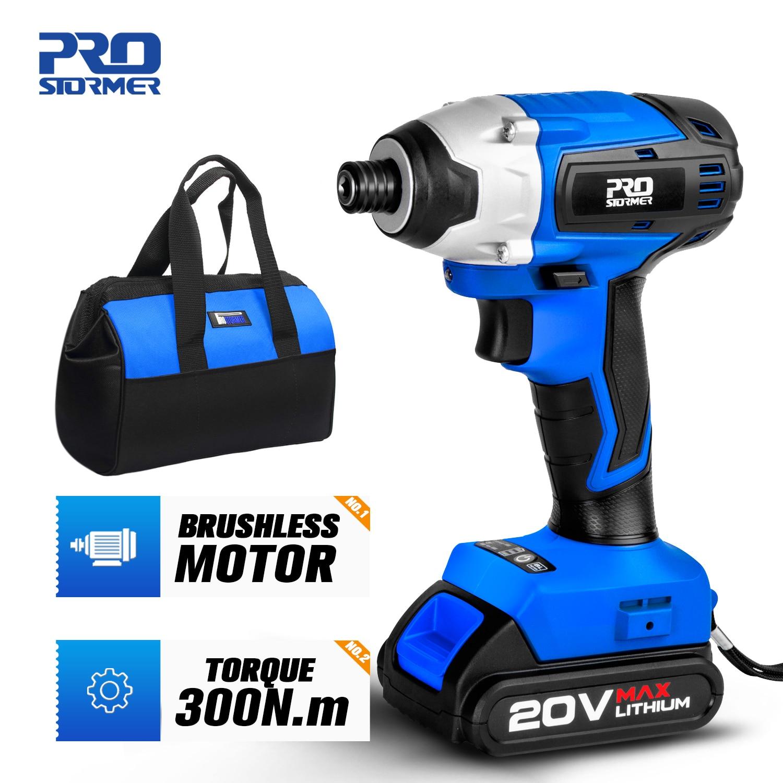 300Nm Electric Cordless Drill Screwdriver Brushless Motor Impact Driver Combo Kit 34pcs Drill Bits 2