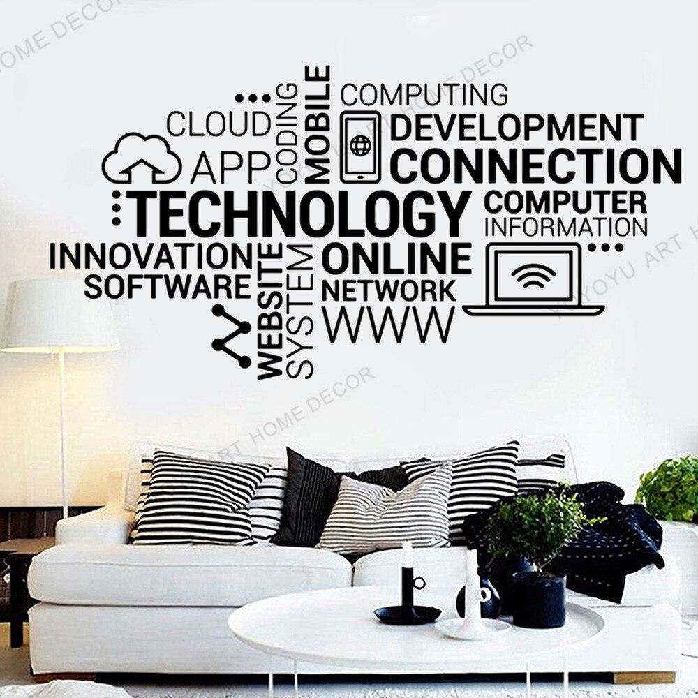 Red tecnológica, citas en línea, calcomanía de vinilo para pared, Internet, innovación, palabras, nube, pegatinas para pared de oficina, decoración moderna para el hogar rb705