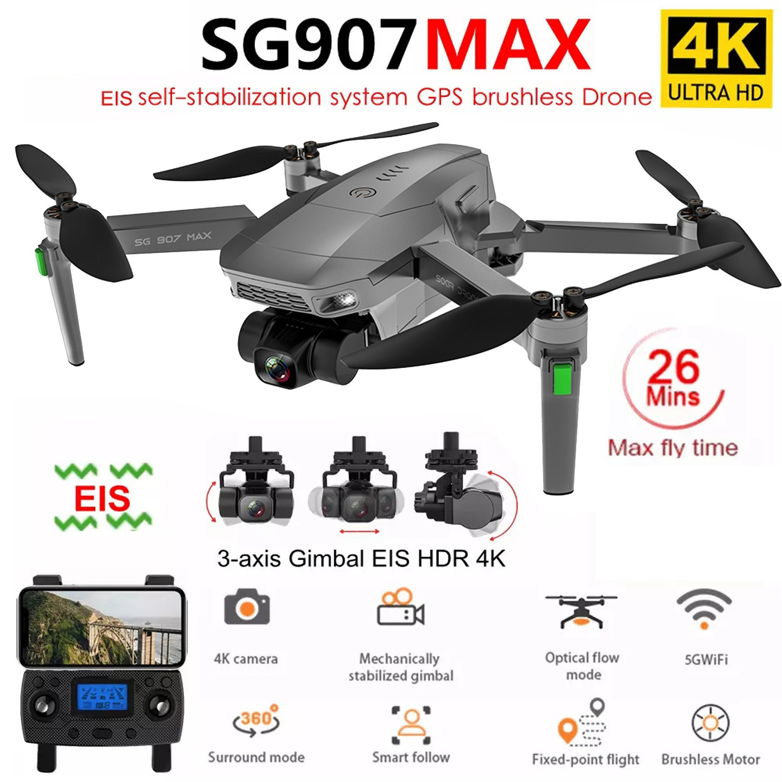 2021 New Sg907 Max/sg907 Pro Drone Gps 5g Wifi 4K HD Mechanical 3-axis Gimbal Camera Supports Tf Card RC Drones Distance 800m #Z