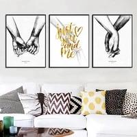 Nordique noir et blanc Style affiche doux amour photos amour citations toile peinture pour salon decoration de la maison pas de cadre