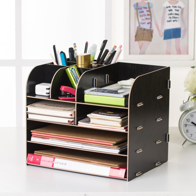 صندوق تخزين خشبي مكتب كبير متعدد الطبقات ملف الرف سطح المكتب درج صندوق تخزين متعدد الوظائف مكتب شاشة لسطح المكتب رف