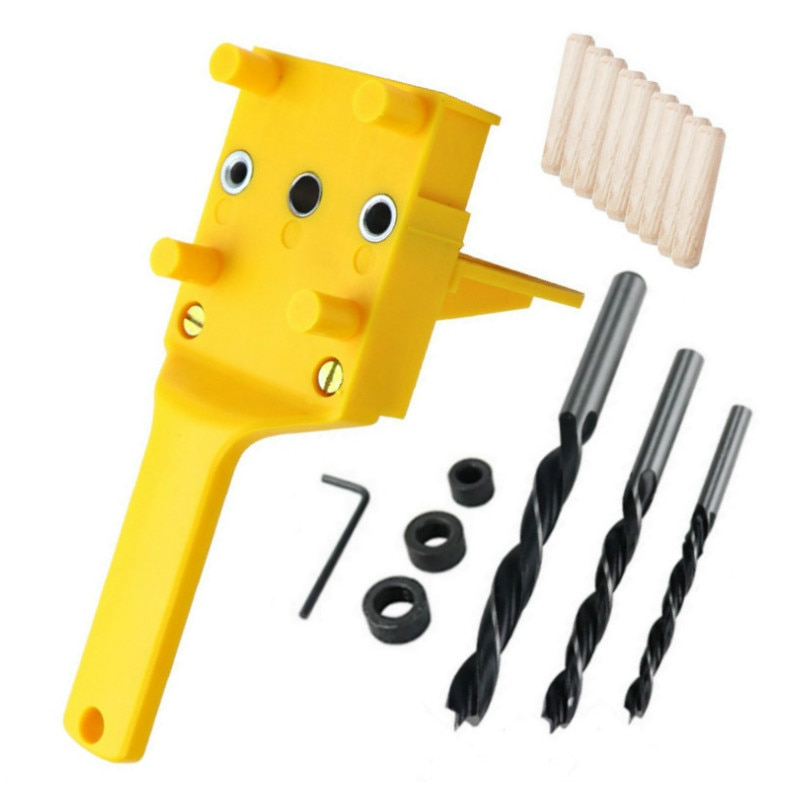 Plantilla de clavija de madera rápida, sistema de plantilla de agujero de mano de plástico ABS, perforadora de broca de 6/8/10 mm para juntas de espiga de carpintería