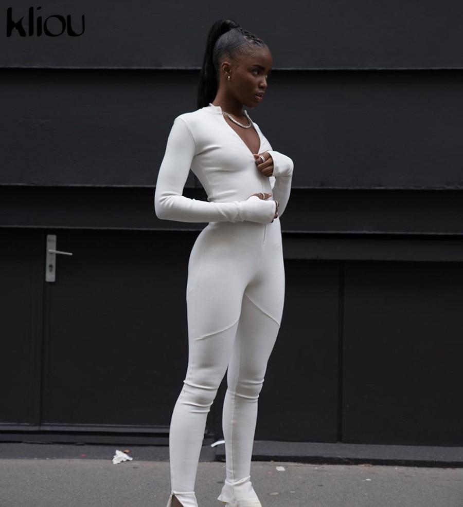 Kliou Black/white Sexy Bodycon tracksuit Jumpsuit  Women 2020 new fitness Romper Long Sleeve Zipper elastic Bodysuit body mujer