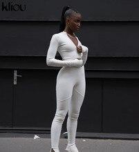 Kliou negro/blanco Sexy chándal Bodycon Jumpsuit mujeres 2020 nuevo Romper de la aptitud de manga larga con cremallera elástico Bodycon body mujer