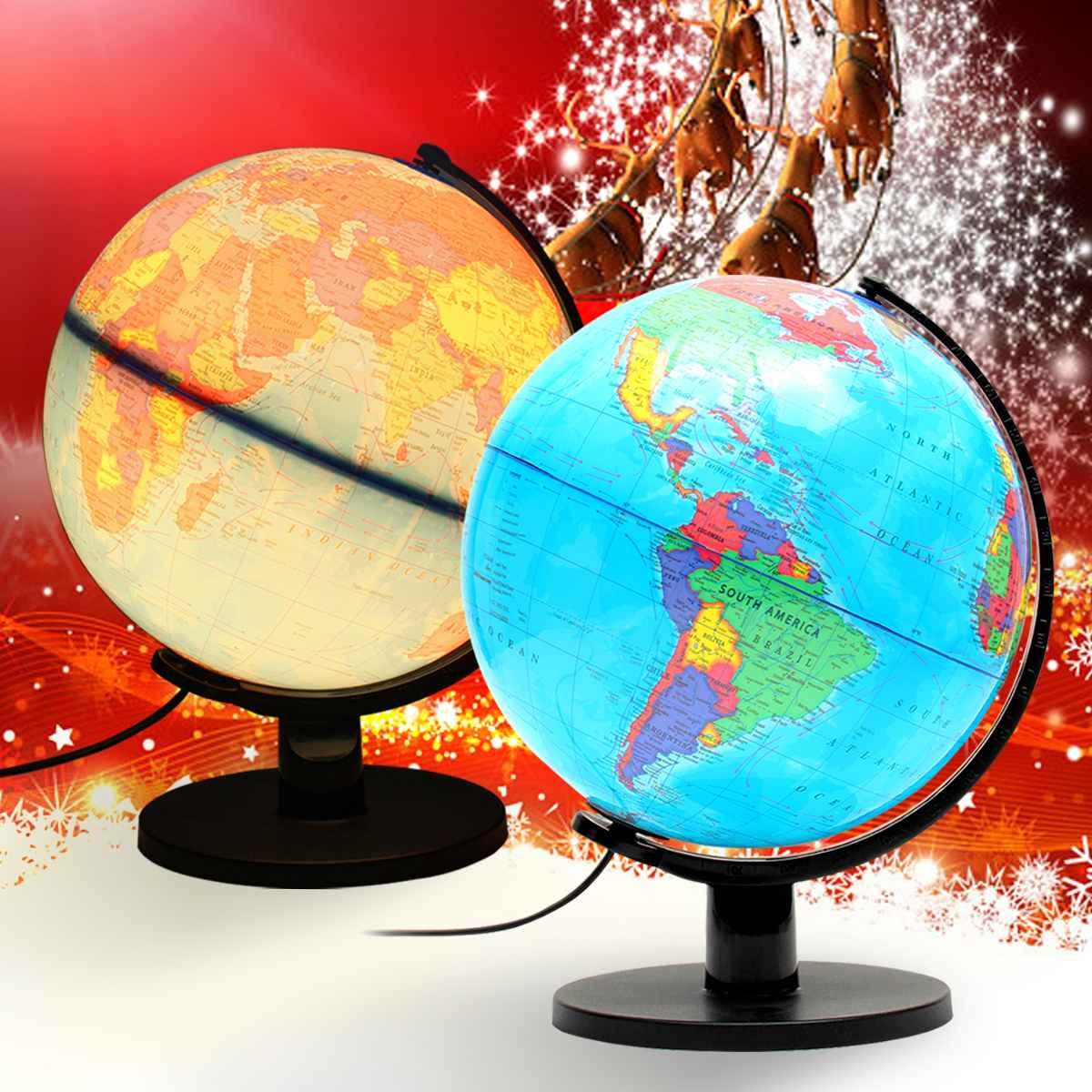 25cm LED luz mundo Tierra globo mapa enseñanza de Geografia juguete educativo con soporte hogar Oficina Decoración regalo suministros escolares