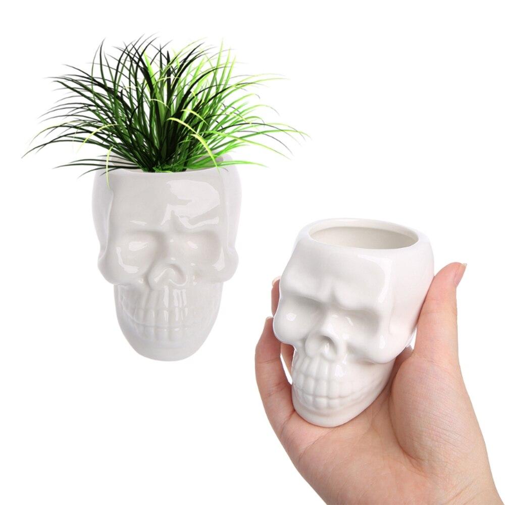Celldeal vasos de flores crânio criativo, vasos de flores caveira, acessórios de mesa, decoração para casa, design moderno, presentes, branco, de cerâmica