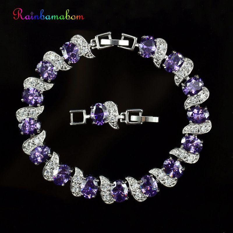 Rainbamabom de Plata de Ley 925, brazalete de piedras preciosas con amatista, brazalete, brazaletes de diamantes, joyería fina, venta al por mayor