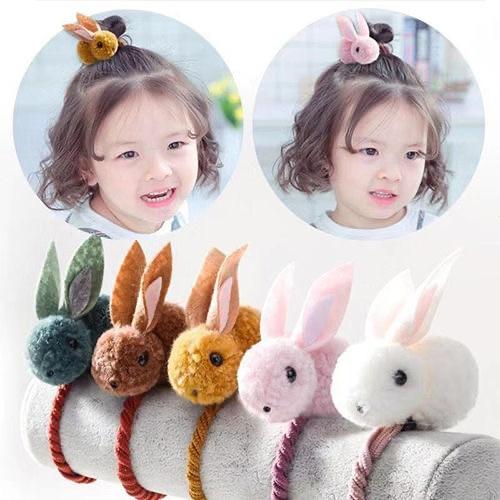 High Quality Cartoon Plush Circle Hair Hoop Children Cute Rubber Band Baby Tie Rope Headdress