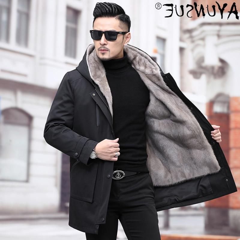 Jacket Winter Man Clothes Men Men's Clothing Real Mink Fur Coats Mens Hooded Parkas Male Fox Fur Col