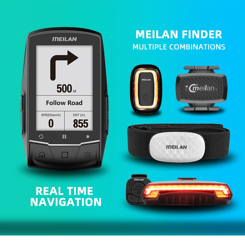 Cycling Computer MEILAN M1 finder GPS Cycling Computer with Sensors Heart Rate Monitor Outdoor Navigation speedometer for strava