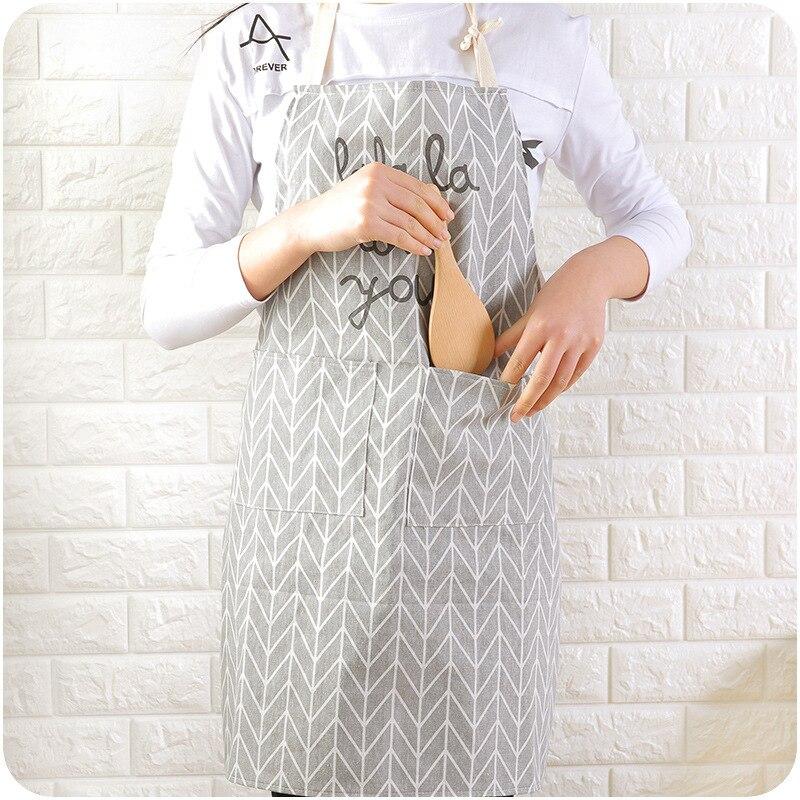 Figura geométrica de cocinero Catering, delantal de lino de algodón con viento nórdico, delantal estampado inglés, pareja de moda, socio de cocina, dorsales para adultos