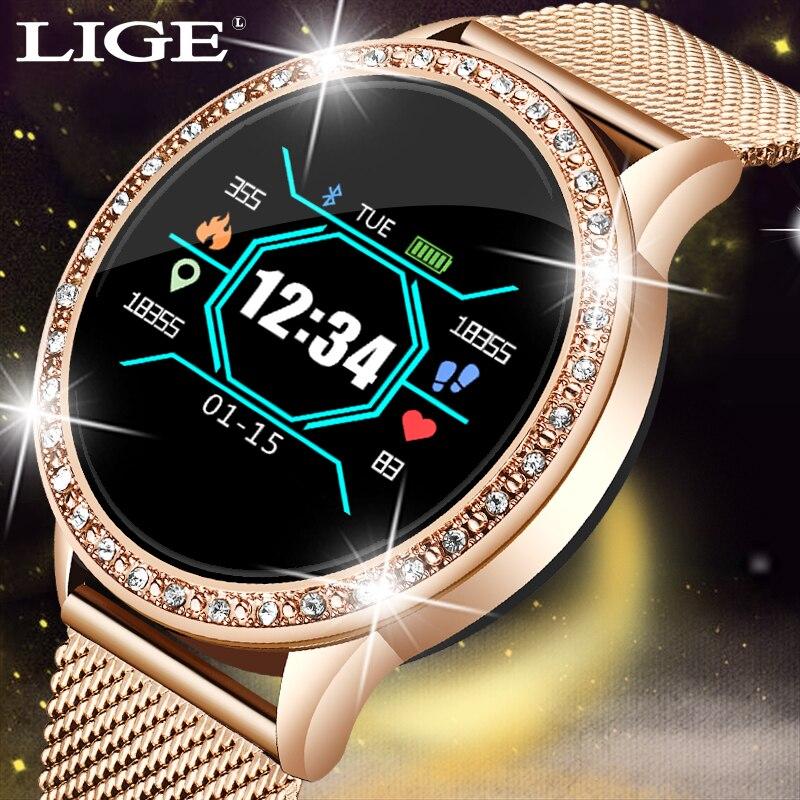 Reloj inteligente de moda LIGE para hombre, reloj deportivo impermeable, monitor de frecuencia cardíaca para iPhone, recordatorio de llamadas, reloj inteligente Bluetooth