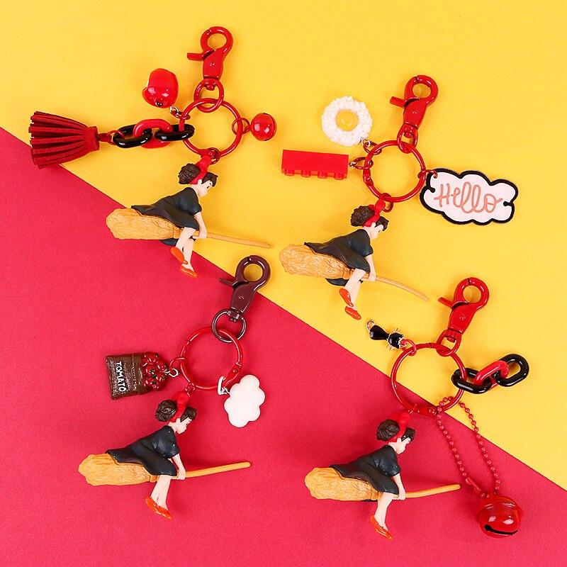 LLavero de la bruja de Miyazaki de Hayao, colgante para teléfono móvil, llavero para bolso, adornos colgantes, escoba mágica