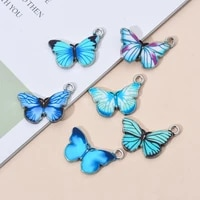 10pcs colorful butterfly mixed color enamel art butterfly charm beads for diy jewelry making accessories fit bracelet necklace