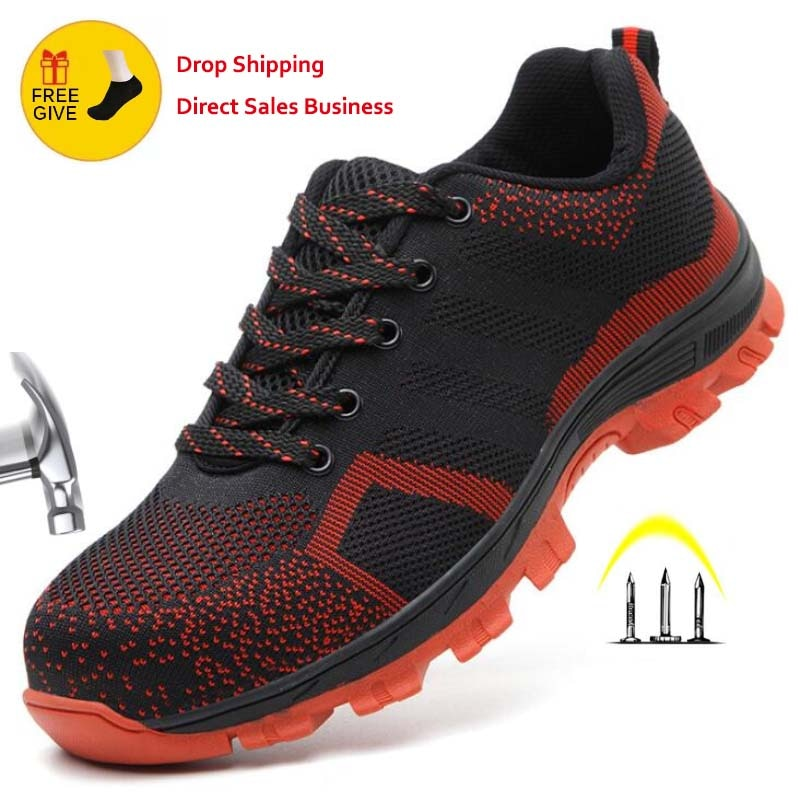 Men's And Women Breathable Steel Toe Cap Safety Shoes Men Outdoor Anti-slip Steel Puncture Proof Con
