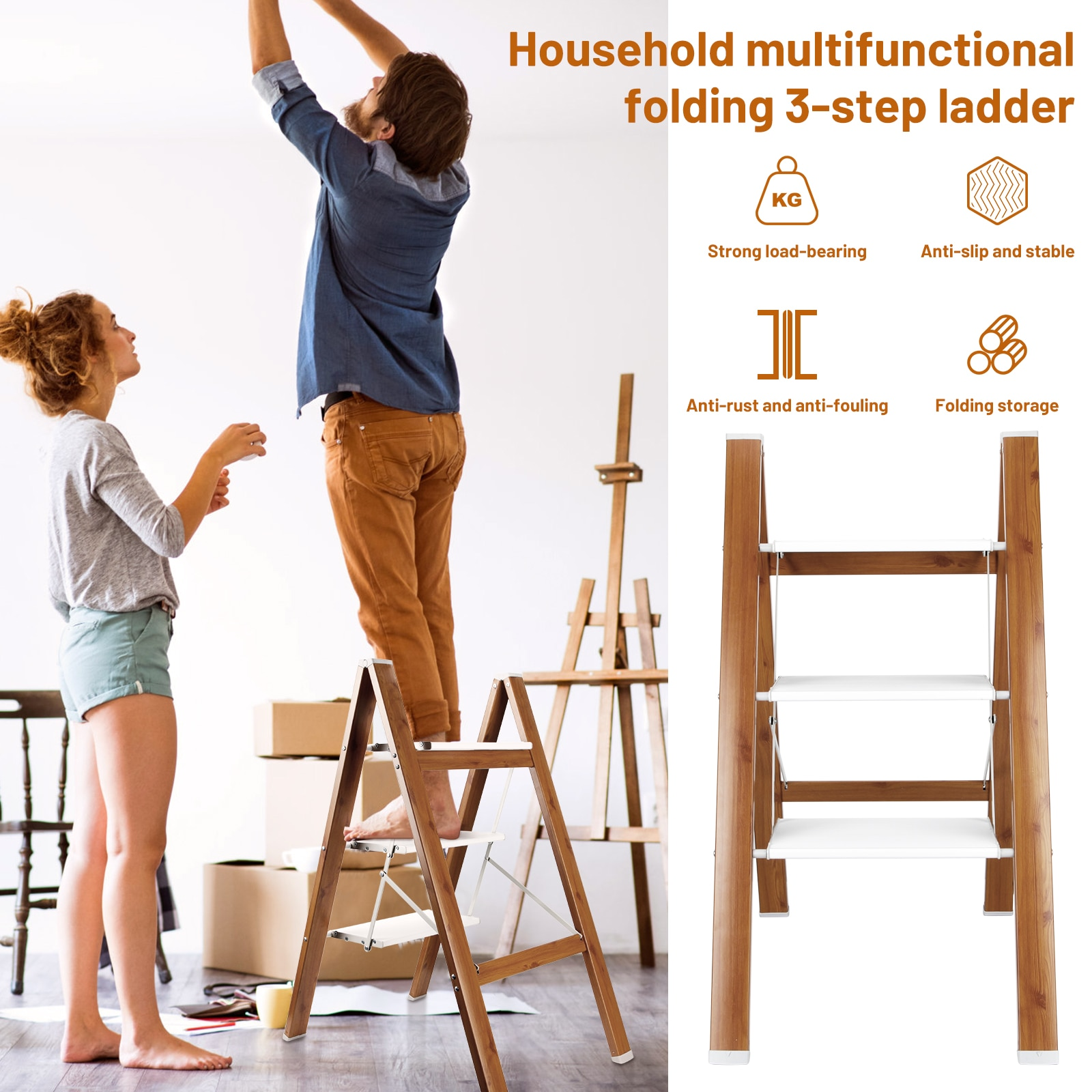 Household Multifunctional Folding Ladder Thickened Aluminum Alloy Herringbone Ladder Three Step Stairs Portable Small Bench Kitc