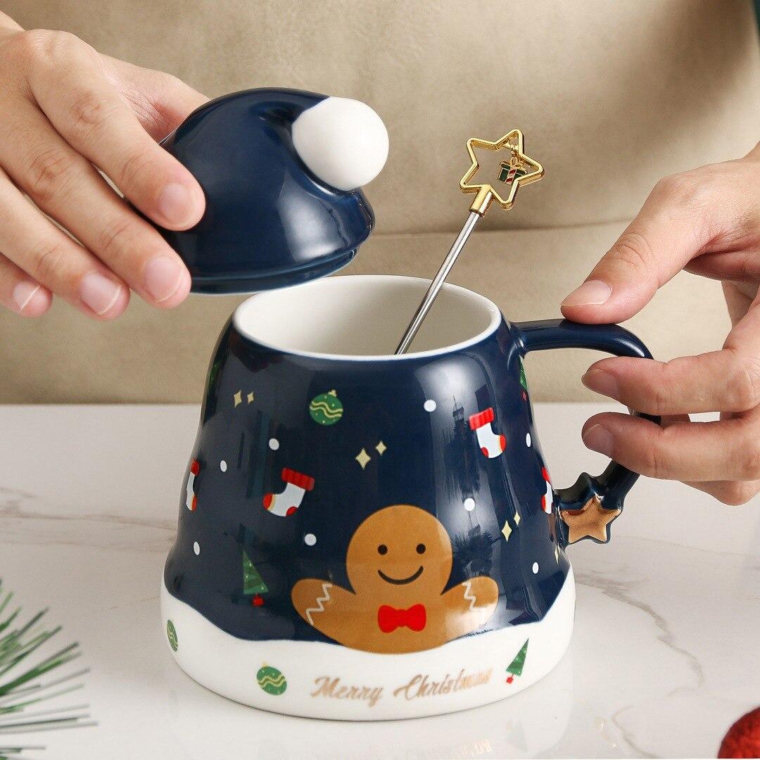 Ins كوب سيراميك للكريسماس ستار كوب ماء لطيف Kawaii اسبرسو القهوة الحليب الشاي اليتي أكواب درينكوير هدية الكريسماس مع ملعقة بغطاء