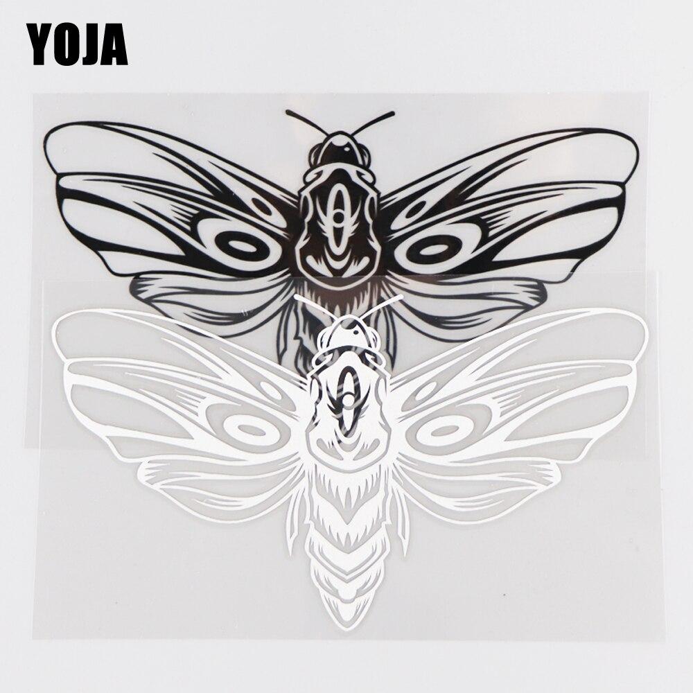 YOJA 16.9×9.5CM Cartoon Animals Moth Pattern Vinyl Decal Fashion Car Stickers Black/Silver 19C-0036