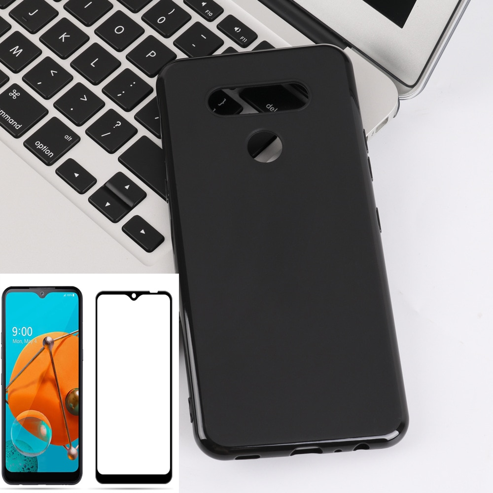 Funda de silicona blanda de TPU para LG K51, carcasa de teléfono con cobertura completa de vidrio templado para LG K51 Q51