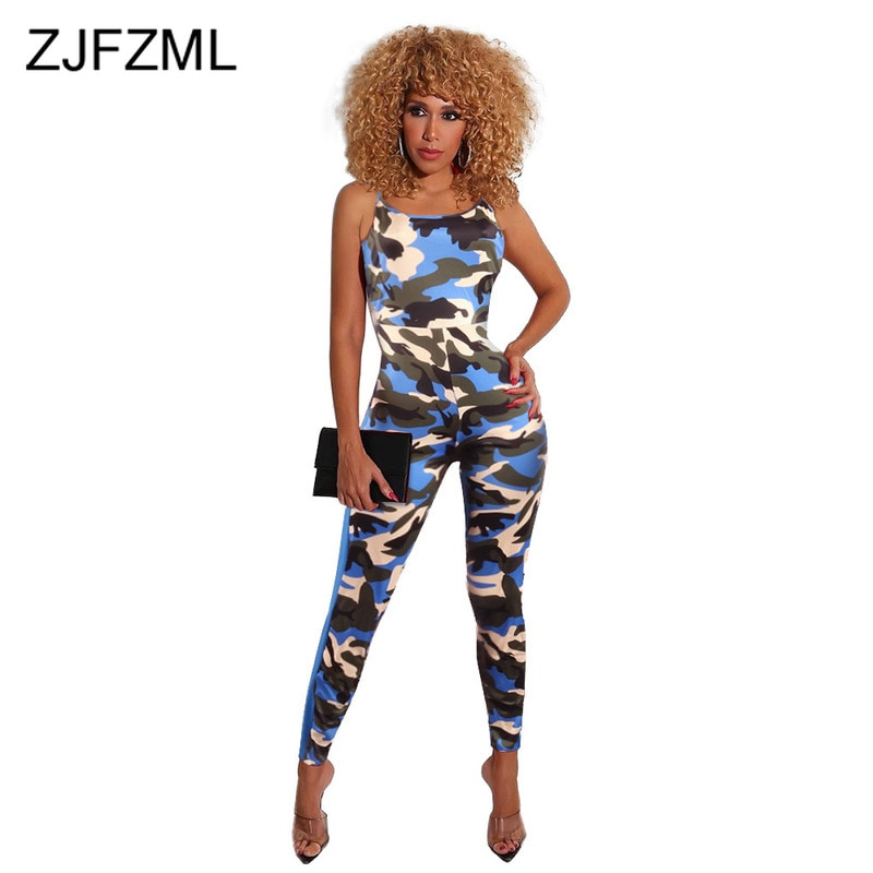 Camo Pattern Sexy Sleeveless Rompers Womens Jumpsuit Backless Bandage One Piece Overalls Bodycon Party Club Playsuit