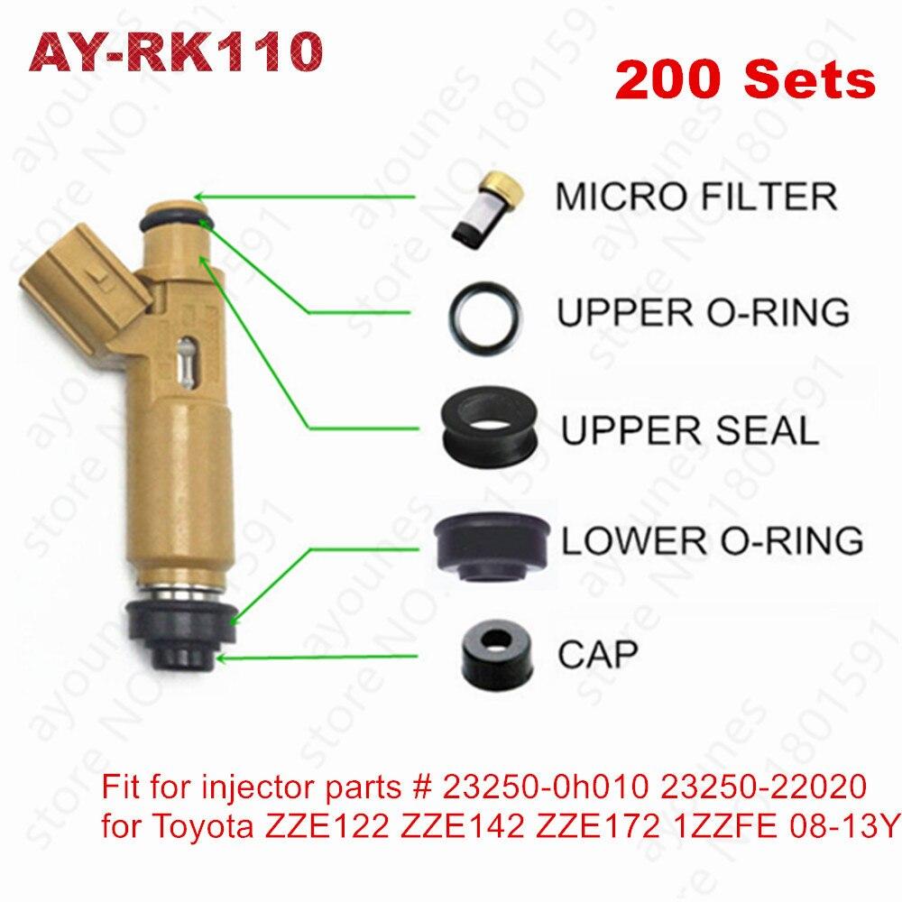 200 conjuntos de kits de reparação de injector de combustível para toyota corolla avensis celica rav4 zze1222 zze142 zze172 1 zzfe 08-13 motores (AY-RK110)