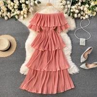seaside vacationer shoot fairy dress sexy one word shoulder short sleeves slim figure thin age cake skirt tide eam dress