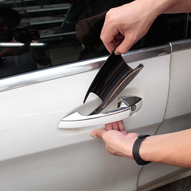 For Mercedes Benz GLK GL ML C Class W204 X204 X166 Car Accessories 4 x Carbon Fiber ABS Chrome Car Door Bowl Cover Trim