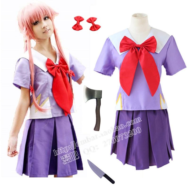 Livraison gratuite nouveauté femmes Halloween Anime futur journal 2nd Mirai Nikki Yuno Gasai Costume Cosplay