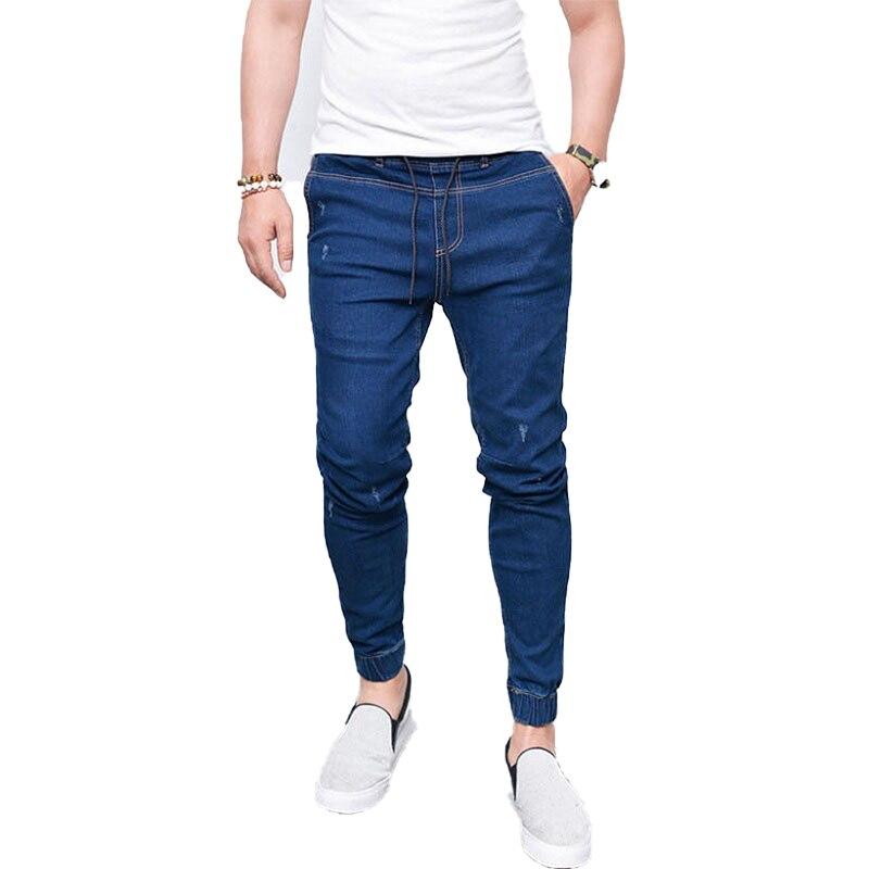 Лидер продаж, мужские джинсы, эластичные джинсы на шнуровке для мужчин, новые мужские джинсы, модные мужские повседневные зауженные прямые ...