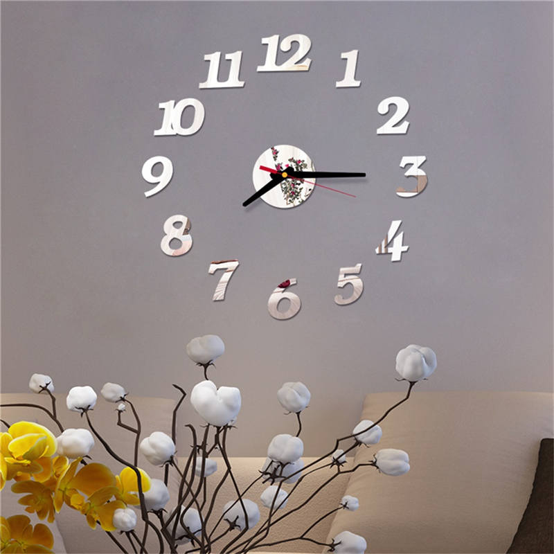 Reloj de pared exquisito 3D Simple romano número DIY espejo acrílico pegatina de pared Reloj decoración para el hogar pegatinas murales 661GZ10