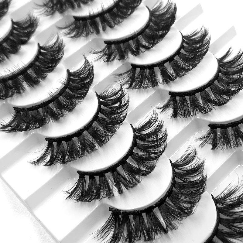 8 Pairs Faux 3D Mink Hair False Eyelashes Handmade Fluffy Long Lashes Nature Long Eye Makeup Tools E