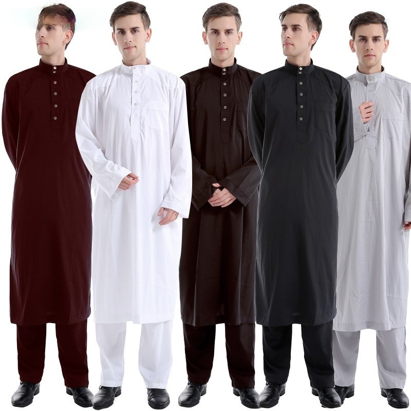 2 Piece Set Arabic Muslim Top And Pant Islam Abaya Arabe Saudi Arabia Pakistan Islamic Clothing Men Arab Musulman Shirt Trousers