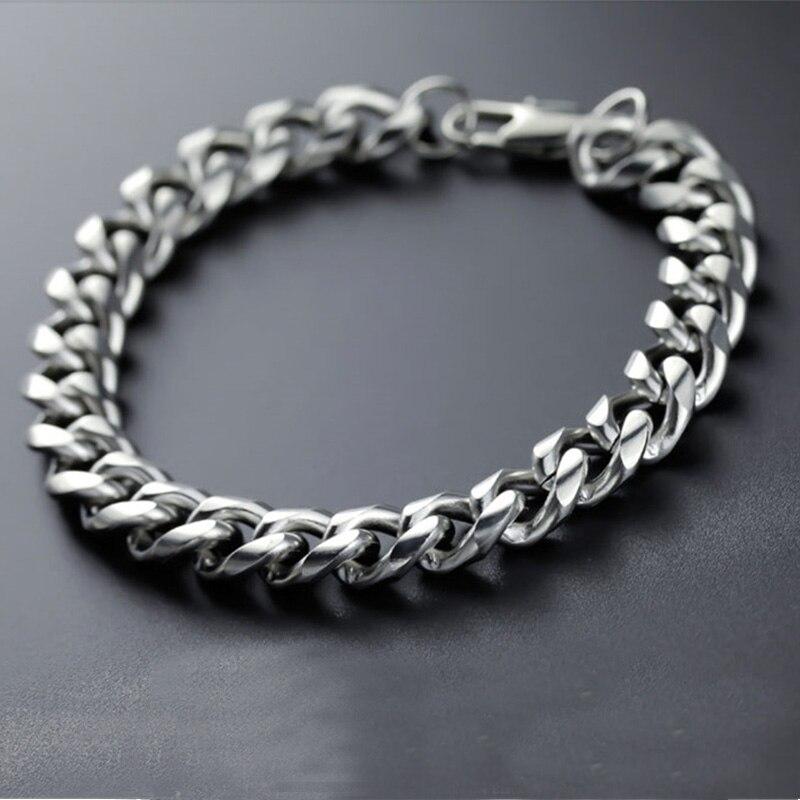 Pulsera de cadena para hombre con eslabones cubanos, pulsera de hombre de acero inoxidable ancho, accesorios para hombre, pulseras para hombre x27s Rock