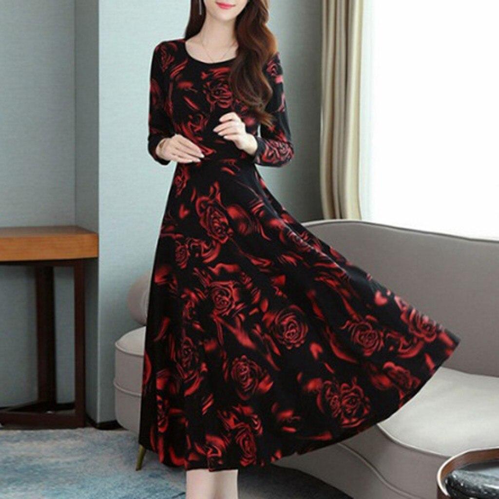 Otoño Invierno señoras retro de manga larga vestido de estampado floral delgado vestido elegante de fiesta de graduación de noche cuello redondo elegante vestido de impresión