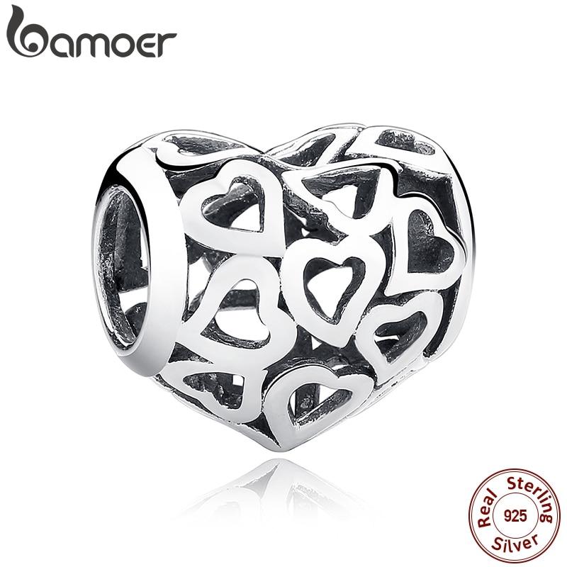 BAMOER 925 Sterling Silber Skeleton Herz Charms fit Armbänder & Halskette für Frauen Engagement Zubehör SCC024