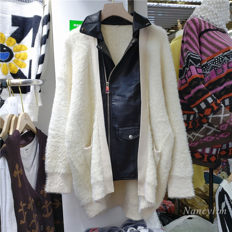 Chaqueta de punto de talla grande para mujer, Chaqueta de punto de piel sintética con solapa de otoño 2020, Chaqueta de punto de visón de imitación, abrigo para mujer