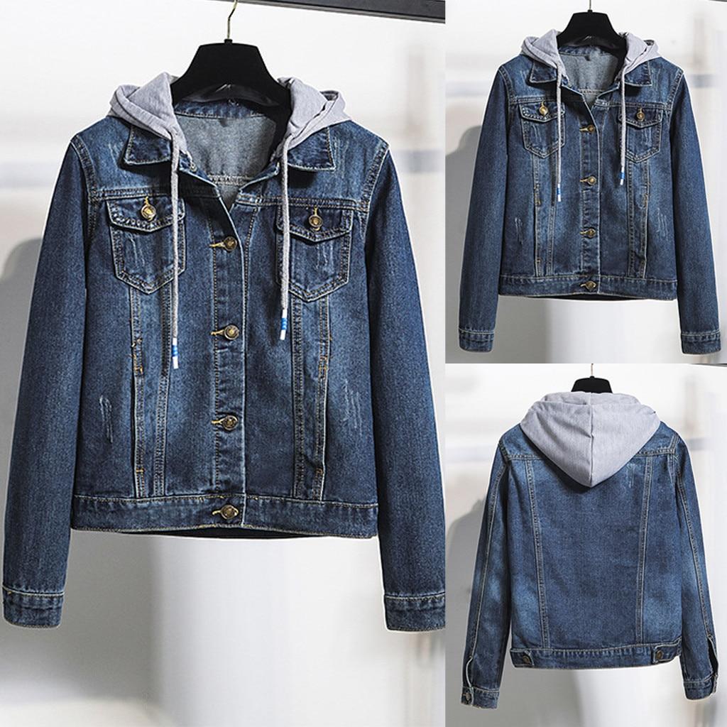 2019 frauen Denim Jacke Womens Casual Jean Jacke Langarm Denim Mantel Retro Mode Mit Kapuze Taschen Jacke Outwear Mantel #45