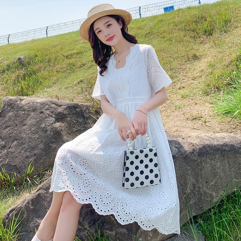 Pregnancy Clothes V-Neck Pregnant Dresses for Women Fashion Maternity Dress 2020 Summer Long Lace Dress Plus Size enlarge