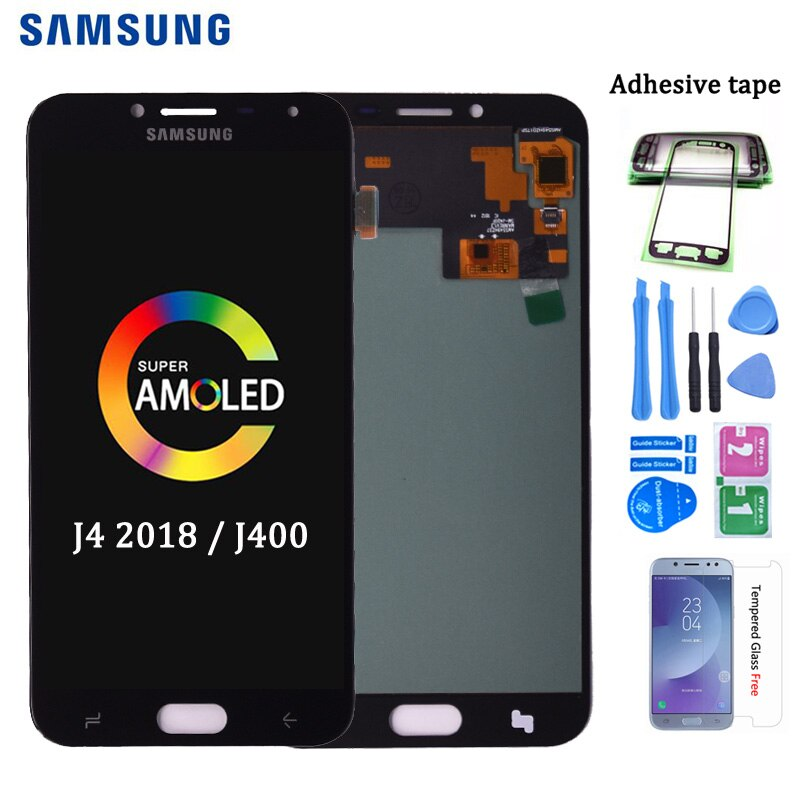 Original AMOLED para Samsung Galaxy J4 2018 J400 J400F J400H J400G J400P J400M pantalla LCD de montaje de digitalizador con pantalla táctil