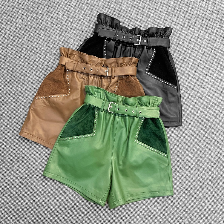 New Designer Women's High-rise leather shorts High quality genuine leather belt casual shorts C471