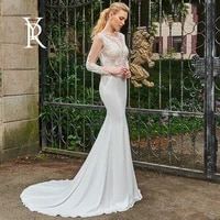 elegant mermaid wedding dress soft satin with slim line o neck sexy lace full sleeve bride gowns backless with robes de mari%c3%a9e