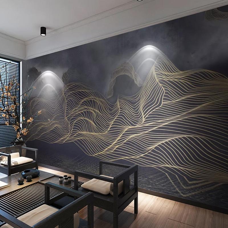 Murais De Parede personalizado Foto 3D Novo Estilo Chinês Água Da Montanha Paisagem Abstrata Sala de Estudo Da Arte Pintura de Parede Sala de estar Quarto