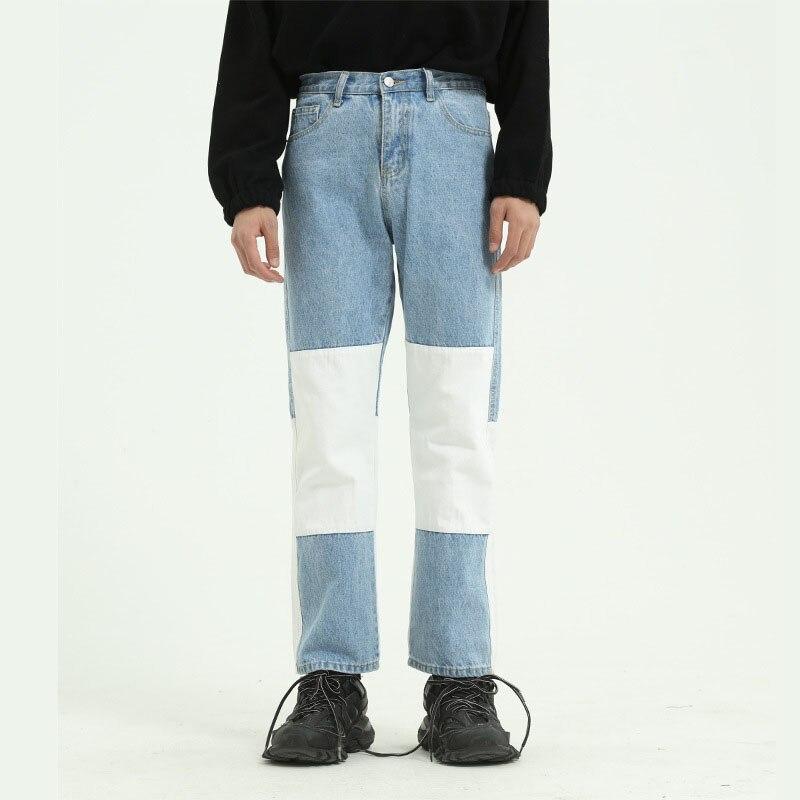 Homens lavagem splice casual calças de brim retas coréia japão estilo masculino moda vintage streetwear hip hop denim pant